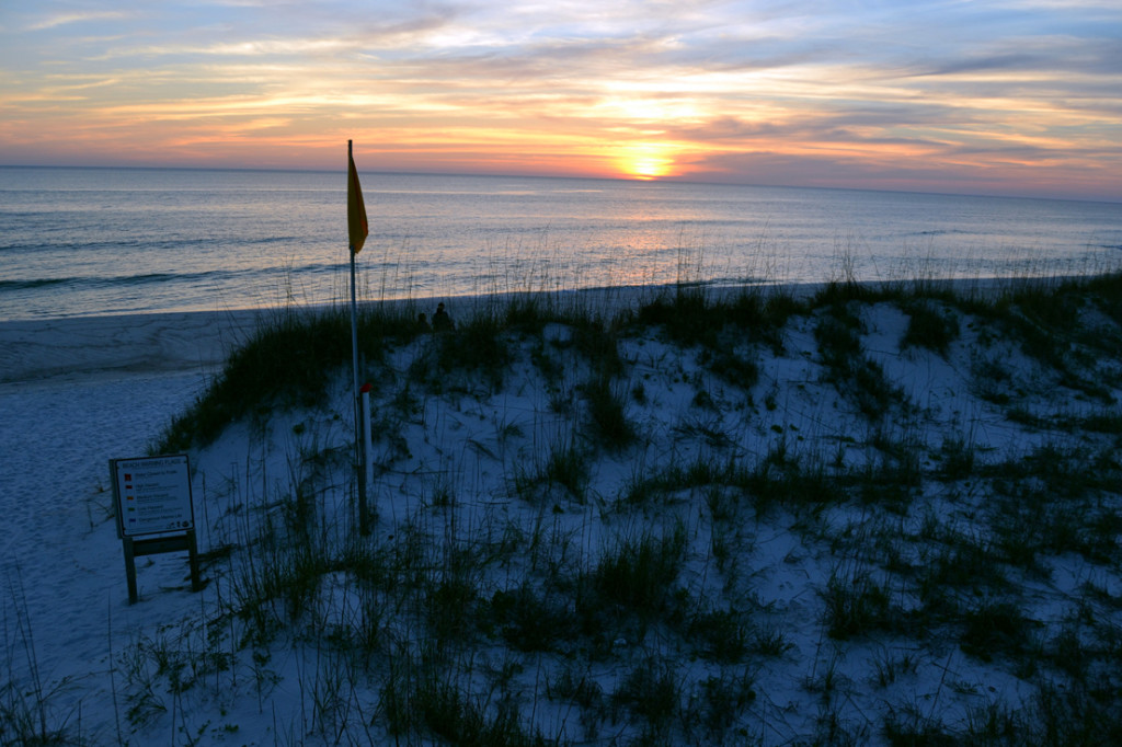 Sunset over St. Joseph Peninsula State Park, nearly 20 miles of unspoiled beaches on the Cape San Blas peninsula protecting St. Joseph Bay and Port St. Joe.